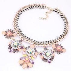 KL6143 - Aksesoris Kalung Chain Gems Bunga