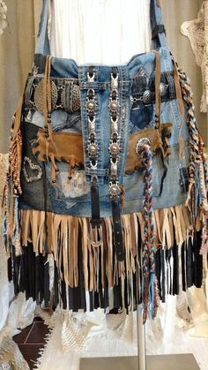 Handmade Large Denim Leather Fringe Crossbody Bag Laptop Tote Jean Purse tmyers … – Purses And Handbags Boho Jean Purses, Purses And Bags, Women's Bags, Yarn Braids, Fringe Crossbody Bag, Leather Fringe, Suede Leather, Boho Bags, Hippie Bags