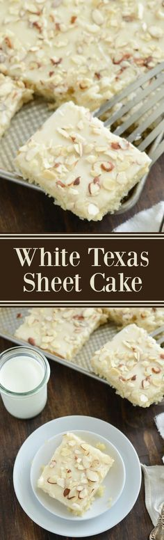 White Texas Almond Sheet Cake Dessert Recipe via The Novice Chef - This perfect buttery cake only takes 30 minutes from start to finish! The Best EASY Sheet Cakes Recipes - Simple and Quick Party Crowds Desserts for Holidays, Special Occasions and Family 13 Desserts, Delicious Desserts, Yummy Food, Party Desserts, Party Recipes, Wedding Desserts, Health Desserts, Sheet Cake Recipes, Dessert Cake Recipes
