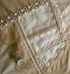 I ❤ crazy quilting, beading & embroidery . . . Lace crazy quilt block 13- The lace is vintage & the hankie has a needle lace edge. Tatting along the top left seam is an effective piece. The curved line of stitching is Double threaded back stitch. The 2 diagonal lines of stitches that run along the edge of the vintage lace is Beaded Double Pekinese stitch. ~By Sharon B.