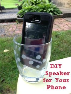 DIY Phone Speakers...this really works!! By placing the iPhone in a glass, speaker-side down, the glass amplifies the sound and makes it project twice as well as before!