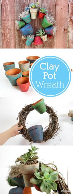 This clay pot wreath is just adorable for your home (or as a house warming gift!) for summer or fall!  To add to the vintage appeal, the clay pots have also been distressed with paint for an aged patina. Full DIY here: http://www.ehow.com/how_12343383_make-clay-pot-wreath.html?utm_source=pinterest.com&utm_medium=referral&utm_content=freestyle&utm_campaign=fanpage