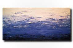 Original Large Abstract painting - 24 X 48 Inches-by Artist JMJartstudio- Rugged -Wall art-wall decor -  Denimn Blue painting-Oil painting