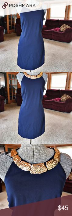 Euc! Laundry By Shelli Segal dress. Size 8 Euc. Laundry by Shelli Segal. Navy dress with gold neck accent. Size 8. Laundry by Shelli Segal Dresses Midi