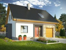 DOM.PL™ - Projekt domu KR ISKRA 3 z garażem CE - DOM KR5-53 - gotowy koszt budowy Traditional House, House Plans, Garage Doors, Shed, Floor Plans, Outdoor Structures, Flooring, Outdoor Decor, Studio