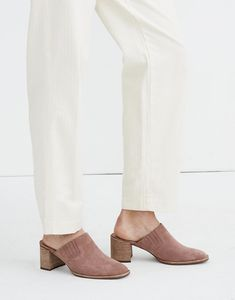 The Carey Mule in Suede Denim Shoes, Out Of Style, Walk On, Heeled Mules, Madewell, Heels, Leather, Beautiful, Fashion