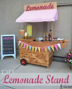 Build the cutest Lemonade Stand on the block and it's even on wheels! This lemonade cart would be so cute for an outdoor wedding or party, free plans. Diy Home Decor Projects, Diy Wood Projects, Kids Lemonade Stands, Tool Belt, Bake Sale, Diy Crafts To Sell, Fruit, Woodworking Projects, Woodworking Plans