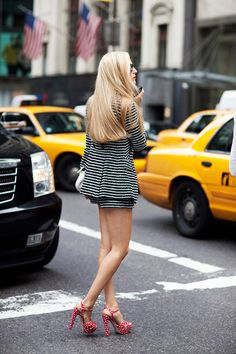 Street Style,....I LOVE stripes,...LOVE this.