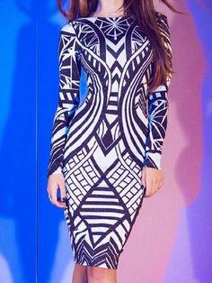 Eloisa s Boutique - Long Sleeve Printed Bodycon Dress 68cd2905e