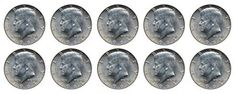 1964 Set of 10 - 90% Silver John F Kennedy JFK Half Dollar Circulated Very Fine ** Be sure to check out this awesome product.