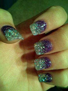 Pretty prom nails! Purple fades into silver, gorgeous!