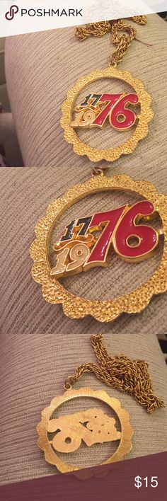 1976 bicentennial pendant nklc from Rafaelian New old 1970s stock. Never work. Glossy enameling and bright gold tone.  About 24 inch rope style chain. I have multiples of these. If you need more than one ask for a special listing. rafaelian Jewelry Necklaces
