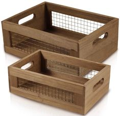 Buy Set of 2 Nesting Countertop Baskets - Wooden Organizer Crates for Kitchen, Bathroom, Pantry Crate Storage, Storage Baskets, Storage Spaces, Wooden Storage Crates, Wood Crates, Wood Boxes, Woodworking Projects Diy, Wood Projects, Wire Fruit Basket