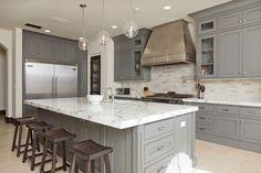 Kitchen, gray, modern appliances, Handmade Hood Photo by Bowman