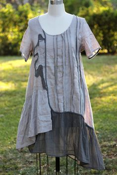 It's in the details: Peacock Ways Y058 Artisan Made Linen Pintuck Stripe Dress M L 2 Tone Grey | eBay