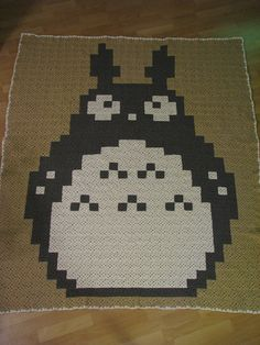 Ravelry: megscjs Crochet Totoro Afghan. I love the idea of rendering a colourwork pattern as squares.