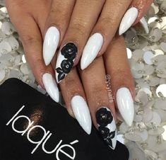 White Coffin Nails with Black Flowers. Enhance your look of your night date with your partner by adopting this amazing floral black and white studded nail art design. French Nails Glitter, White Acrylic Nails, White Nail Art, White Nails, Black And White Nail Designs, Black Nails, Black White, Prom Nails, My Nails