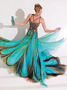 Blanka Matragi peacock colors on a butterfly dress  Source: http://luxussilk.wordpress.com/2010/11/08/blanka-m