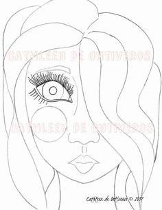 Whimsy girl face digital stamp original by Cathleendeontiveros