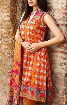 Buy Orange Printed Cotton Lawn Dress by Khaadi Lawn Collection Vol.II 2015.
