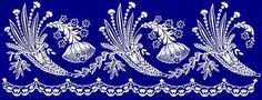 Border Embroidery Designs, Lace Embroidery, Embroidery Patterns, Blue Carnations, Parchment Craft, Lace Patterns, Tapestry, Album, Black And White