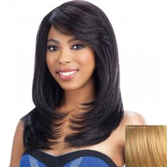 Elegant Long Layered Side Bang Nobby Straight Slightly Curled Capless Human Hair Wig For Women #women, #men, #hats, #watches, #belts, #fashion
