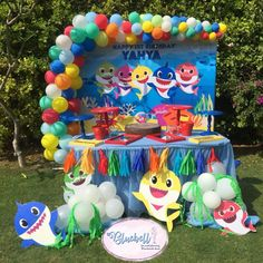 "Bluebell For Event Planning on Instagram: ""There is just something about this song🦈 💫 Candy bar by @sugart_cupcakes ❤️ #babyshark #babysharkbirthday #babysharkbirthdaytheme…"""