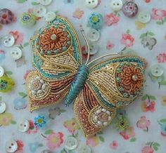 ❤ Embroidery Art, beaded butterfly- Learn the skills required to create a unique three dimensional butterfly brooche. Ribbon Embroidery, Beaded Embroidery, Embroidery Patterns, Embroidery Stitches, Butterfly Embroidery, Beaded Brooch, Beaded Jewelry, Jewellery, Art Perle