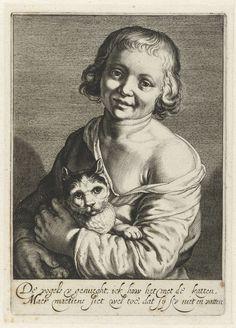 Cats in Art and Illustration: Boy with cat, c. 1625 - Cornelis Bloemaert (Dutch, 1603-1692)