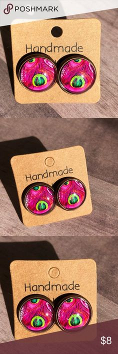 "🆕Pink Peacock Feathers Copper Stud Earrings! New, Handmade by Me! 🆕Peacock Line! Full of Gorgeous, Bright, Vibrant Colors! Who doesn't love the Beauty of a Peacock?🧡 Approx. 1/2"" Diameter, 12mm; Weight 8g; Beautiful Pink Feathers Glass Stud Earrings on a Copper Post Back; 📸These are my pics of the actual item you will receive!  ▶️Part of 3 for $15 Deal! Bundle & Save! • Glass Cabochon Stud Earrings for pierced ears • Nickel, Lead & Cadmium Free  *NO TRADES *Price is FIRM as Listed…"