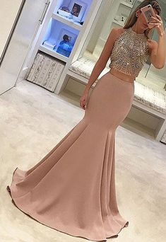 Cute Two-Piece Mermaid Long Prom/Evening Dress with Beading,Fishtail prom dress,Sexy dress