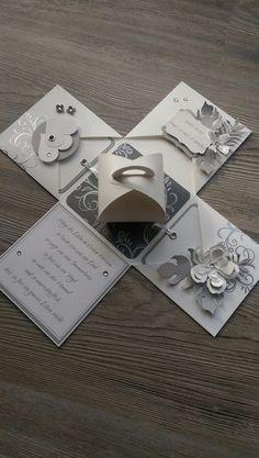 **Eine Explosionsbox in grau / silber zur Hochzeit aus hochwertigem Karten- und Designerpapier mit gestempelten Motiven sowie gestanzten und embossten Elementen.**  Die Box kann auch als Geschenk...