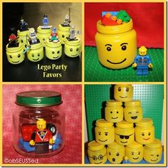 Baby food jars into minifig heads for a Lego party