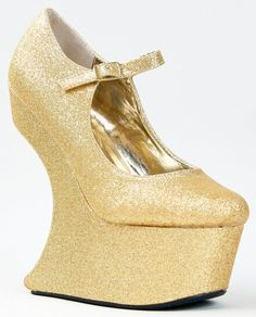Sculpted Curved Wedge Heel Platform Mary Jane Shoe  #Prom