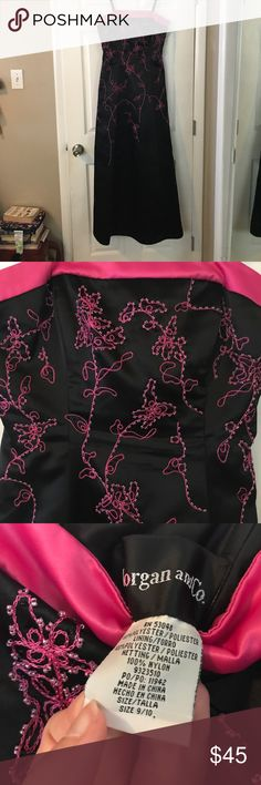Beautiful hot pink beaded prom dress. Morgan and company strapless prom dress.  Junior size 9/10 Morgan & Co Dresses Prom