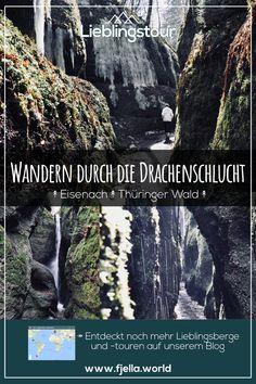 Abenteuer Drachenschlucht im Thüringer Wald bei Eisenach. Mit nur 68cm Breite an der schmalsten Stelle, Wasserfällen und Stegen ist diese Klamm Tour ein echtes Abenteuer für jedermann und auch für Kinder geeignet. Entdeckt die Tour jetzt auf unserem Blog. #wandern #schlucht #klamm #thüringen #thüringerwald #drachenschlucht #wanderroute #eisenach