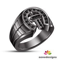 Religious Cross Men's Ring 0.33 CT Natural Round Diamond 14K Black Gold Finish #aonedesigns #ReligiousCrossMensRing