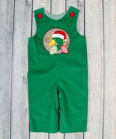 Look at this Green Christmas Duck Overalls - Infant & Toddler Christmas Duck, Green Christmas, Baby Boy Fashion, Overalls, Applique, Dressing, Rompers, Boys, Clothes