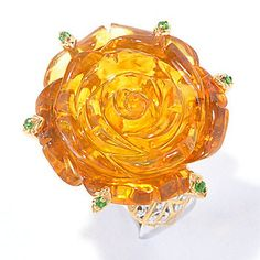 Gems en Vogue 25mm Carved Amber Rose & Chrome Diopside Ring