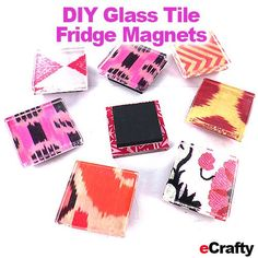 Add your own photos, art, paper scraps to our Glass Tile Fridge Magnet Kit - everything is peel n stick - very quick!