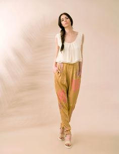 """When a sheer top meets a pair of silk funky pants its always a win-win combo!  ITEM CODE: 121516 - """"DoubleTrouble"""" sleeveless top  ITEM CODE: 121515 - """"DiscoHarem"""" silk-blend pants"""