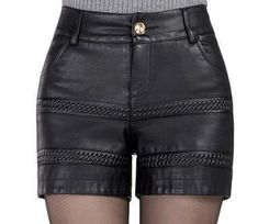Womens Black PU Leather Pocketed Shorts M-4XL – Floessence