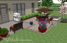 DIY Patio Addition Design with Seat Wall fits perfect on the corner of most existing patios and will beautifully increase your existing outdoor living space.