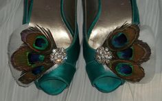 Bridal Shoe Clips  Peacock Feathers White by ShoeClipsOnly on Etsy, $38.00