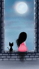Gorjuss - window with a black cat and a girl Art Mignon, Illustration Art, Illustrations, Crazy Cats, Cat Art, Painting & Drawing, Art Drawings, Art Photography, Artsy