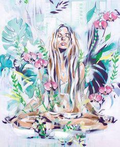 artist hannah adamaszek captures the sense of being, where the beauty and timelessness of the world come into sharp focus. check out hannah adamaszek bohemian art! Bohemian Art, Hippie Art, Spiritual Paintings, Yoga Art, Meditation Art, Female Art, Art Inspo, Art Projects, Art Drawings