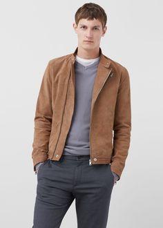 Suede biker jacket -  Men | MANGO Man USA