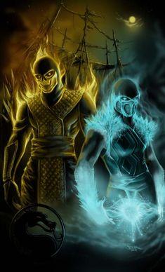Mortal Kombat: Deadliest of Enemies - Scorpion Sub-Zero Sub Zero Mortal Kombat, Scorpion Mortal Kombat, Arte Kombat Mortal, Mortal Kombat X Wallpapers, Arte Ninja, Mileena, Fighting Games, Video Game Art, Street Fighter