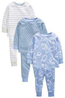 Blue/Grey Star/Stripe Pyjamas Three Pack (9mths-8yrs)