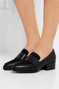 3.1 Phillip Lim - Quinn Suede-paneled Textured-leather Loafers - Black - IT